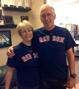Dave and Laurie in Red Sox shirts